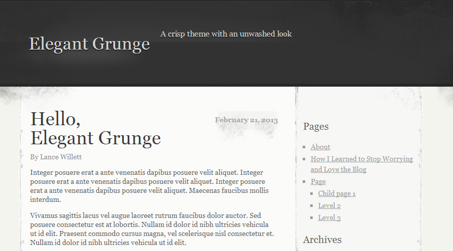 Elegant Grunge - Abstract WordPress Themes