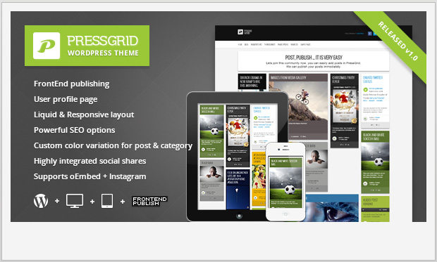PressGrid -Responsive Grid WordPress Theme