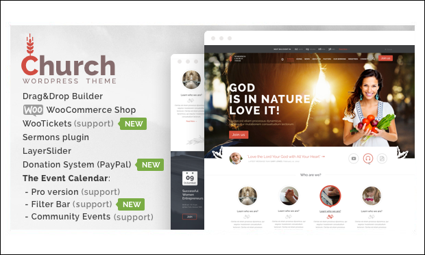 Church and Events - WordPress themes for Church Website