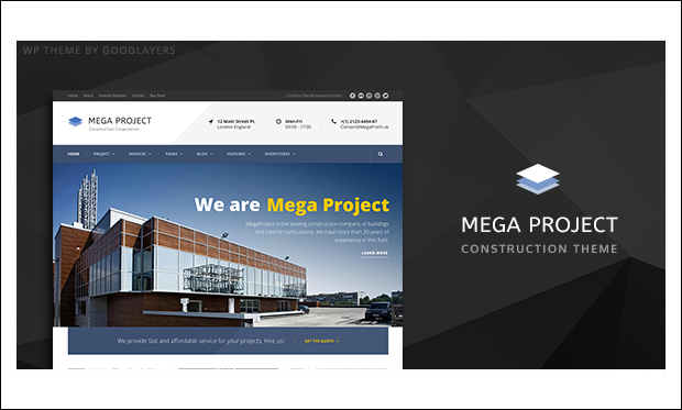 Mega Project - WordPress Theme for Construction Company