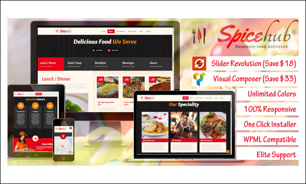 SpiceHub - Nosh - Beautiful Bar WordPress Themes