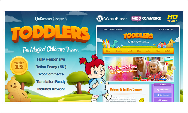 Toddlers - Cartoon WordPress Responsive Themes
