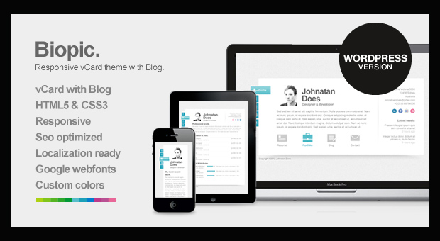 Biopic - Resume Style WordPress Responsive Theme