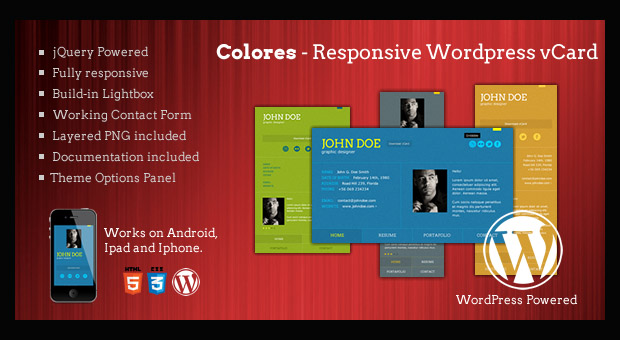 Colores - Resume Style WordPress Responsive Theme