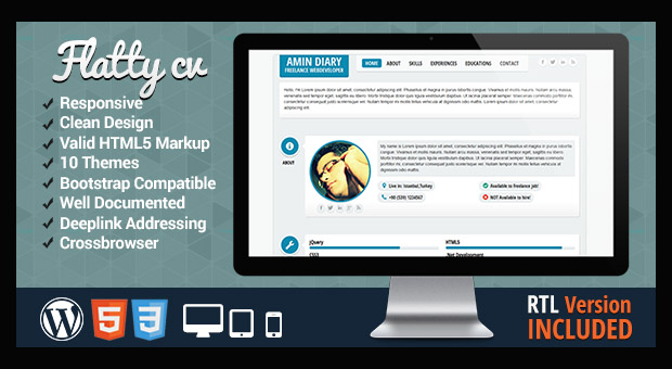 Flatty CV - Resume Style WordPress Responsive Theme