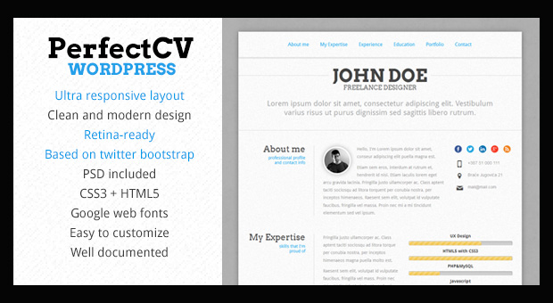 perfectcv resume style wordpress responsive theme
