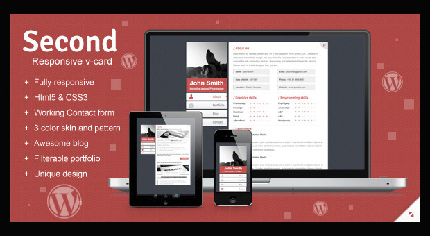 Second - Resume Style WordPress Responsive Theme