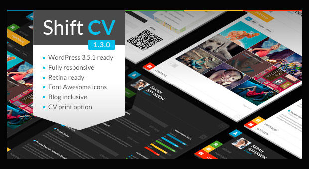 shiftcv resume style wordpress responsive theme - Wordpress Resume Template