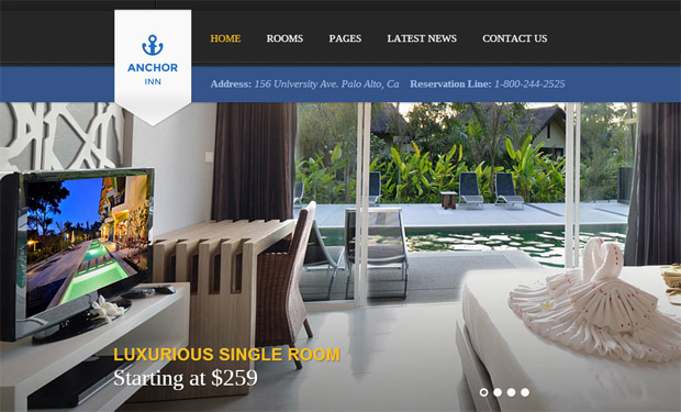 Anchor Inn - Responsive Hotel WordPress Theme