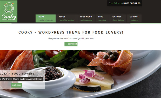 Cooky - Responsive Recipe WordPress Theme