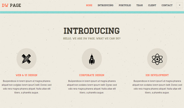 DW One Page Responsive Retro Theme