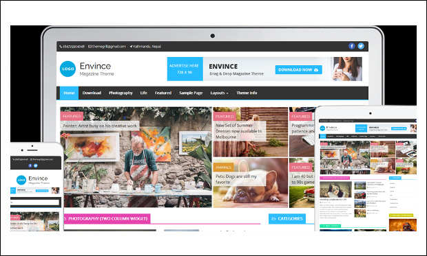 Envince - WordPress Themes for Magazine Websites