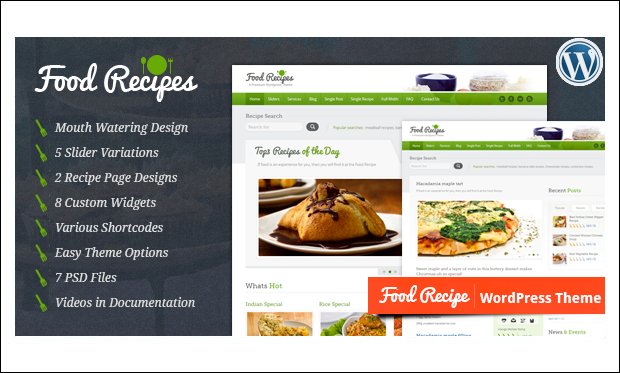 Food Recipes - Recipe WordPress Themes