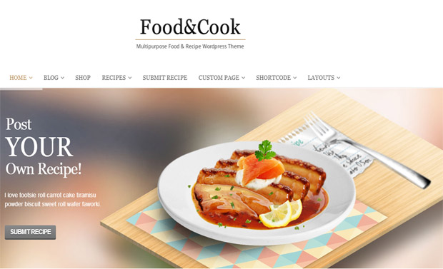 Food and Cook - Responsive Recipe WordPress Theme