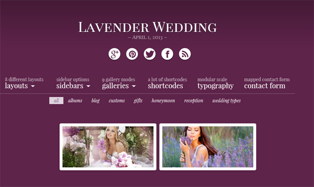 Lavender - Responsive Wedding Theme