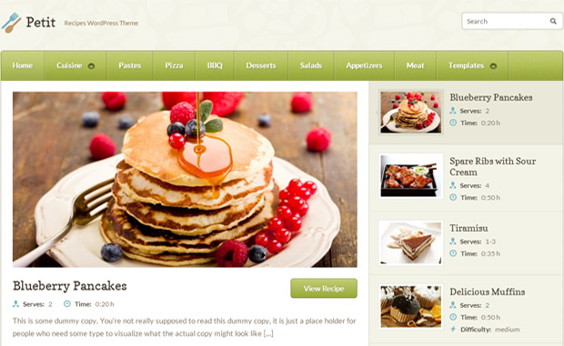 PETIT - Responsive Recipe WordPress Theme