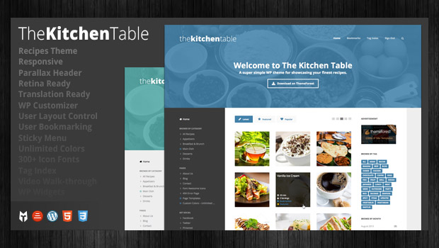 The Kitchen Table - Responsive Recipe WordPress Theme