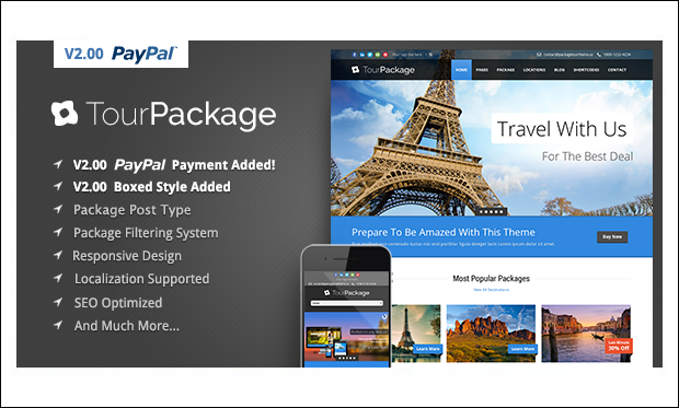 Tour Package - WordPress Responsive Themes for Tourism Websites