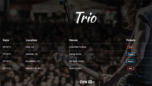 Trio Band - Responsive Music Blog WordPress Theme