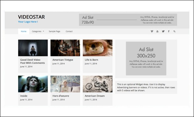 VideoStar - Video Based WordPress Themes