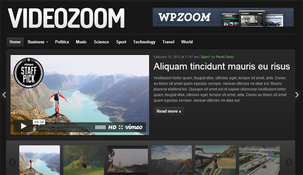 Videozoom - Responsive Video WordPress Theme