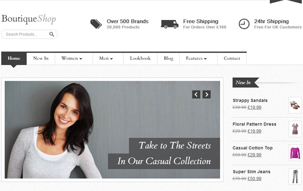WordPress Responsive Theme for Boutique Websites