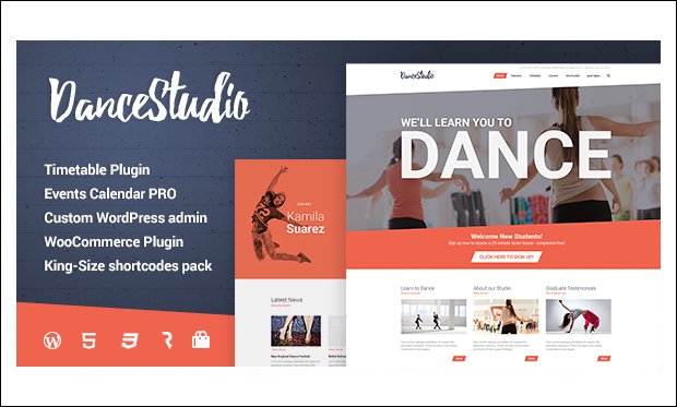 Dance Studio - Dance School or Studio WordPress Themes