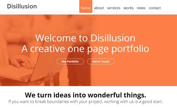 Disillusion - Responsive One Page WordPress Theme