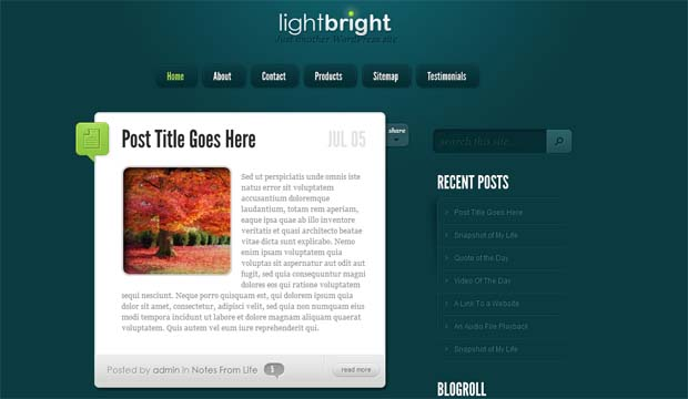 LightBright - Responsive HTML5 WordPress Theme