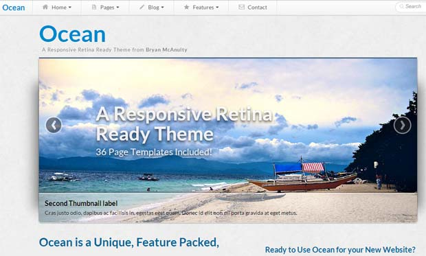 Ocean - Responsive HTML5 WordPress Theme