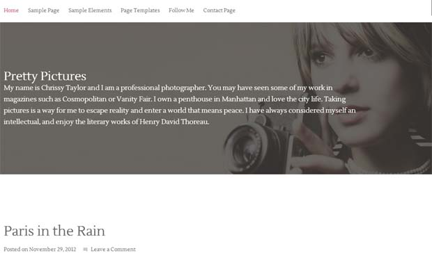 Pretty Pictures - Responsive Photography WordPress Theme