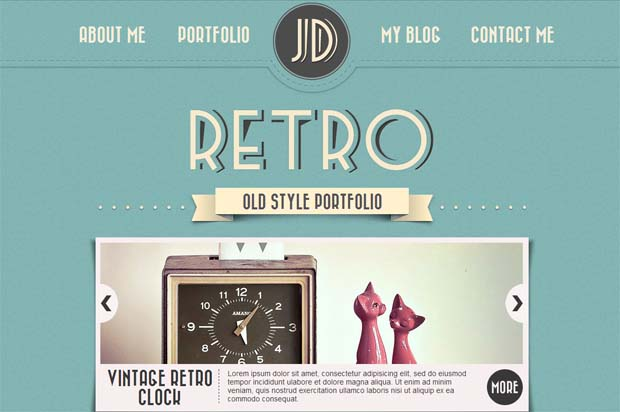 Retro Portfolio - Typography WordPress Theme