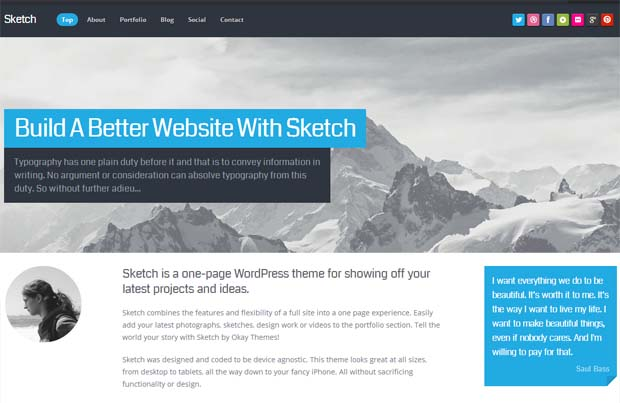 Sketch - Typography WordPress Theme