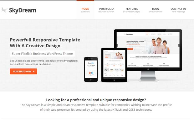 SkyDream - Responsive HTML5 WordPress Theme