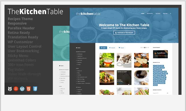 The kitchen Table - Food Recipe WordPress Theme