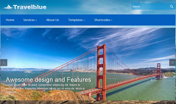 TravelBlue - Free Responsive WordPress Theme