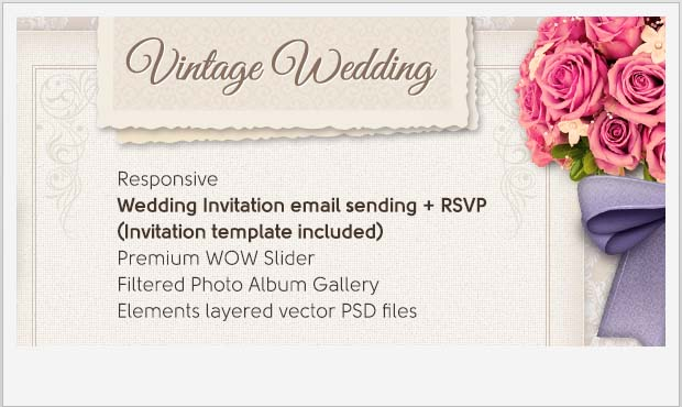 Vintage Wedding - Responsive Vintage WordPress Theme