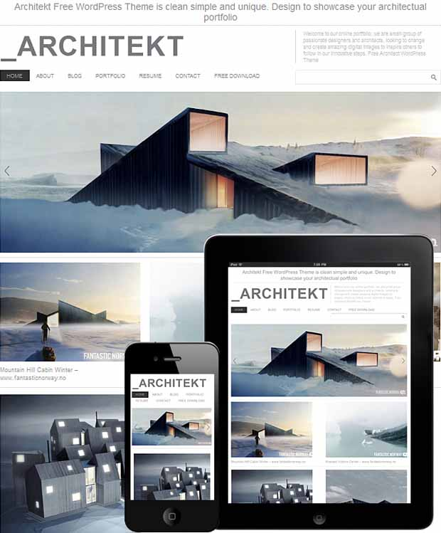 WordPress Responsive Theme for Architecture Portfolio