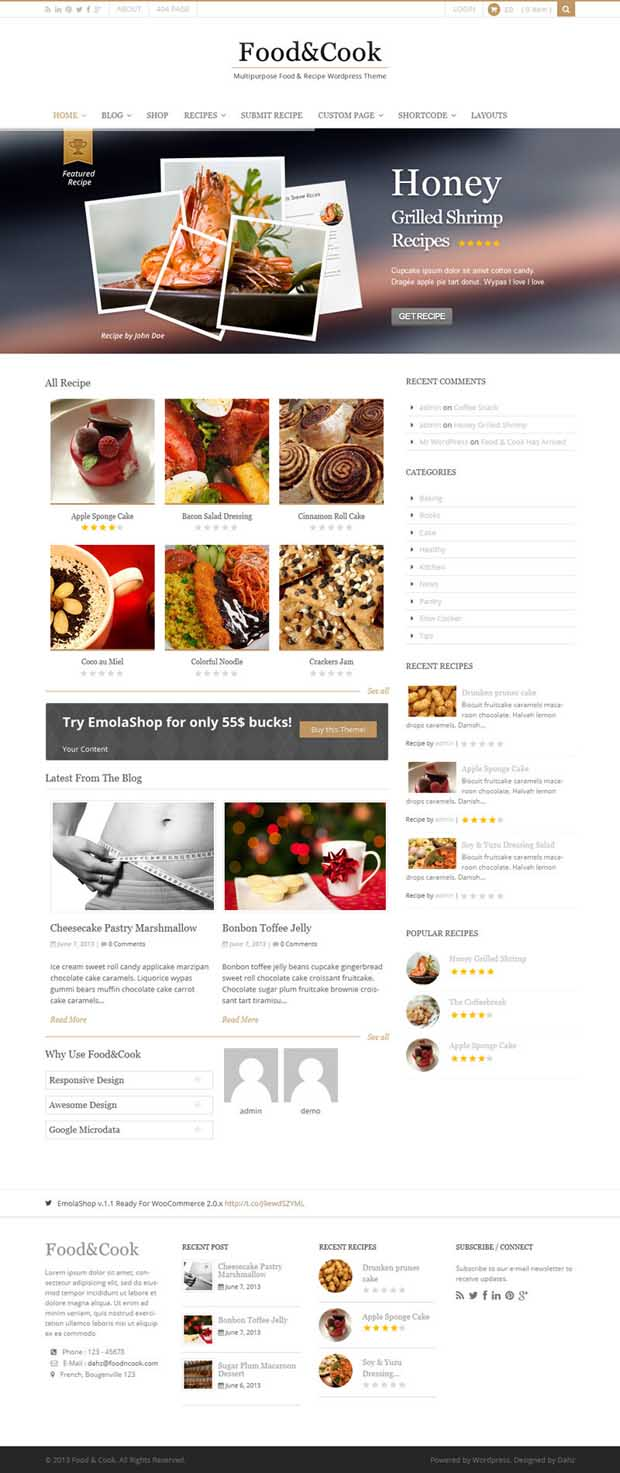 WordPress Responsive Theme for Cooking Recipe Websites