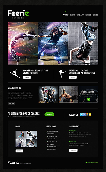 WordPress Responsive Theme for Dance Schools