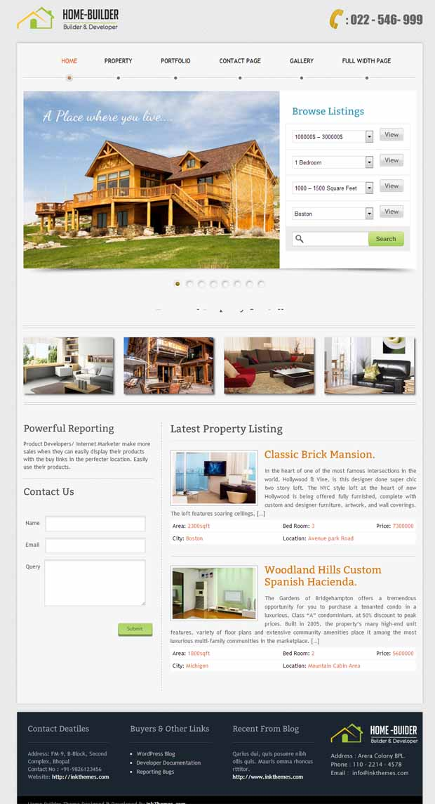 WordPress Responsive Theme for Home Builders
