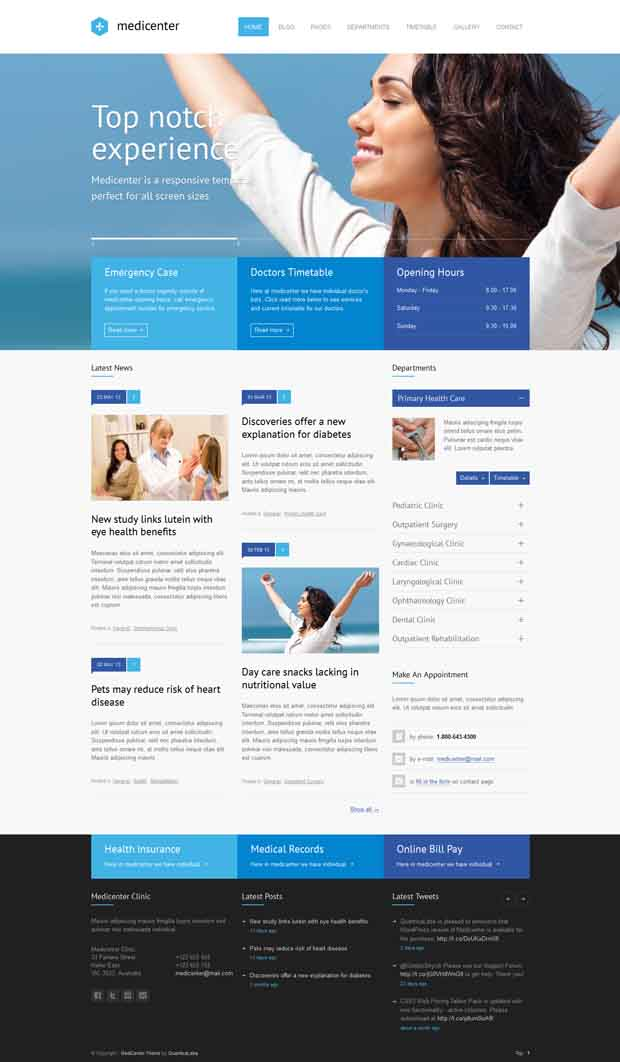 WordPress Responsive Theme for Hospitals