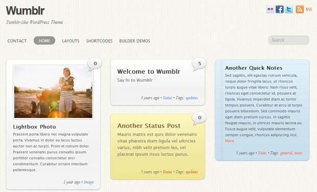 Wumblr - Responsive Tumblr WordPress Theme