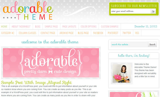Adorable Theme - Girly WordPress Theme