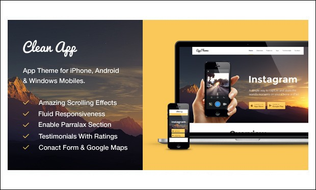 CleanApp - Showcase WordPress Themes