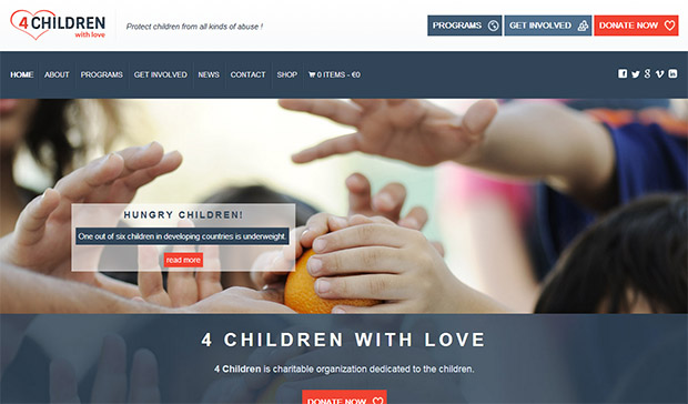 4 Children with Love -Responsive charity wordpress theme