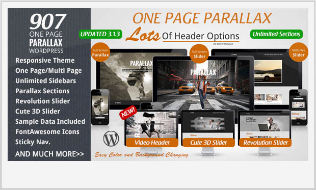 907 -Responsive Parallax WordPress Theme