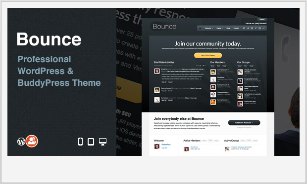 Bounce -Responsive Buddypress WordPress Theme