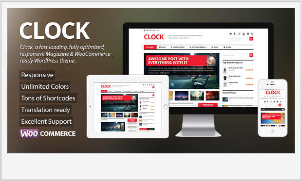 Clock -Responsive Three Column WordPress Theme