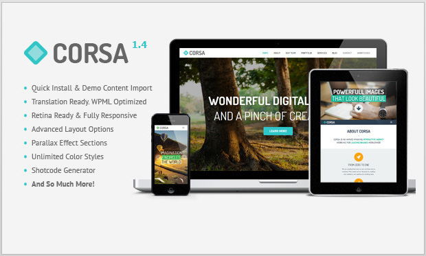 Corsa -Single Page WordPress Theme